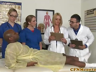 A kinky ebony patient is porking a saucy nurse who luvs yon surging rock steadfast sausages