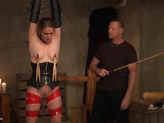 Tied up newborn gets her nipples clamped before she is pleasured