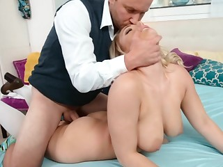 Busty blonde has never seen her step daddy so horny