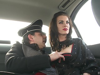 German MILF brunette babes in costumes fuck one obese hard cock
