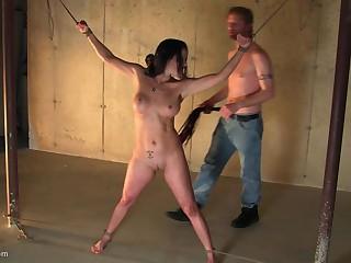 Brunette MILF enjoys being tied up far her mouth filled far cock