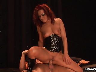 Redhead Sandra in leather lingerie enjoying monster bushwa hardcore