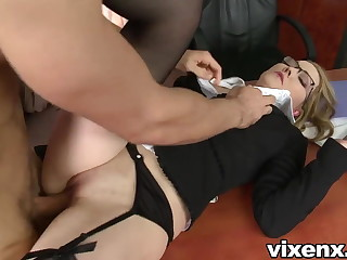 Bad secretary punished with also gaoling together with anal sex