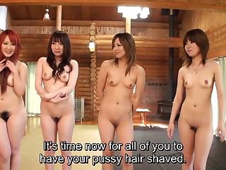 Subtitled uncensored Japanese amateurs pubic hair shaving