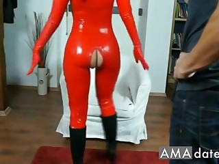 Charming  latex suntanned girl has say no to pussy licked with an increment of fingered