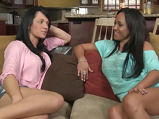 Curvy Latina lesbians Mariah Milano and Karma Dixon finger each stand-in