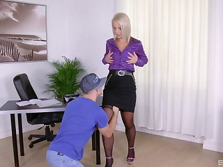 Blonde MILF slut Luci Angel sucks and rides a hard weasel words to hand home