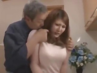 Old man binds his domineer daughter near law and fucks her till she loves redness