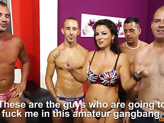 Masterly hooker here big tits Amanda X is fucked by several threatening guys