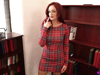 Red haired milf Georgie Newman gets unshod and plays with her pierced nipples