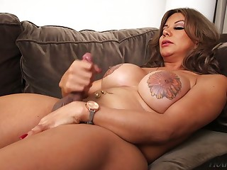 Burly breasted ladyboy with weighty nipples Naomi Chi wanks herself