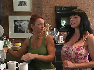 MILF fairy pornstars Janet Mason and Karen Kougar more eradicate affect scullery