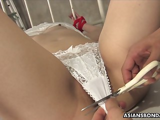 Tied up svelte Japanese nympho Runa Kanzaki is ready for bondage and fingering