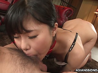 Dutiful slender Jap gal Mika Shindo gets exposed together with mouthfucked