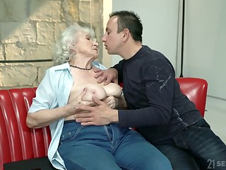 Whorish granny Norma gets make known relating to one hot blooded young dude
