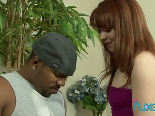 Ginger nextdoor chick Emily is shocked by huge dull-witted black penis