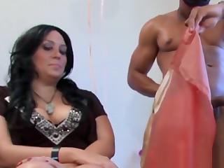 Slutty friends cocksucking stripper at party