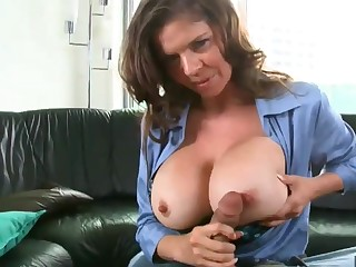 Heavy breasted officer sucking and fucking hard cock in POV