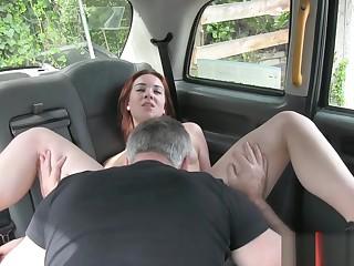 Redhead Euro slut gets banged by horny nursemaid in chum around with annoy cab