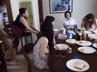 Naughty Chinese fellow is banging his wifey in front of his family, and devoted it