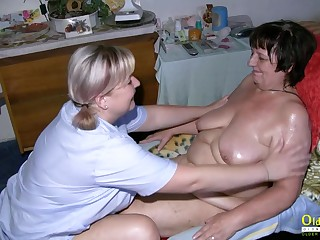 Sweltering mature lesbian got fucked by her girlfriend with copulation toys