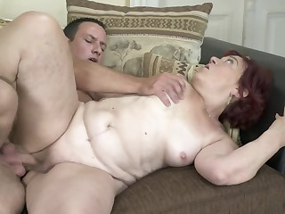 Red-haired granny finally gets her old twat banged lasting