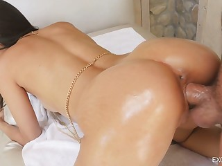 Enveloping lubed super curvy mollycoddle Eliza Ibarra rides dick and gets poked doggy