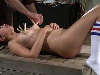 Asian night-time MILF be obliged cum while tied in socks