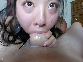 SPUNK killjoy out of her NOSE!! INTENSE perspective fish for THROATFUCK for sukisukigirl