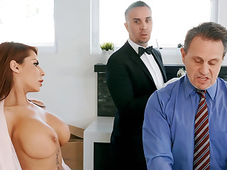 Horny butler is brim about to anal fuck housewife