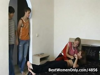 Russian Teenagers Orgy At Home When Friends Out