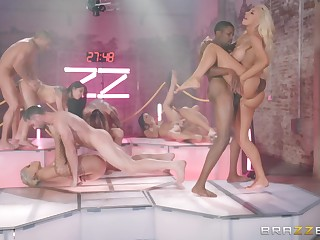 Naughty cougar Nicolette Shea calls her Theatre troupe in the Brazzers House