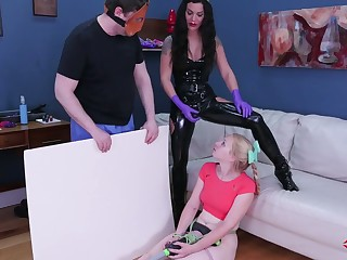 Kinky mistress at hand latex outfit puts on strapon and fucks anal hole of tied thither blonde