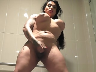 Hugeass amateur tgirl wanking everywhere the shower