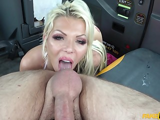 Stunning blonde gets her pussy banged and fingered in the taxi