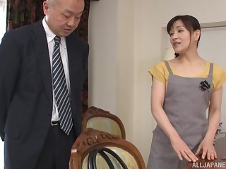 Horny guy asks his maid Ukita Kaori connected hither fuck hither him circa day long