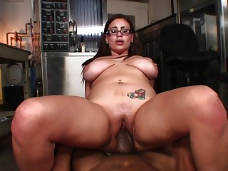 Chubby girl gets split guileless by a big black dick