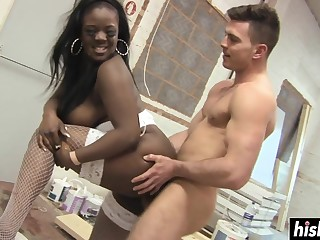 Outrageous Babe Gets Humped By A Friend - interracial porn
