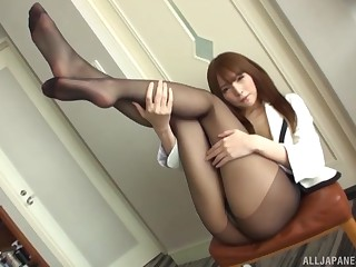Long hair Asian masturbates with her favorute vibrator added to fingers