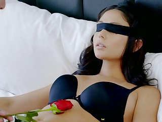 Blindfolded sexy brunette babe Ariana Marie rides sloppy cock and enjoys good doggy