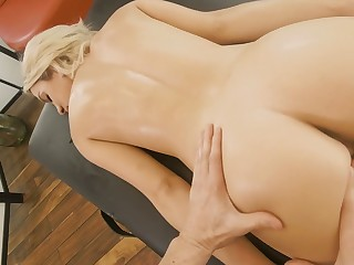 Slim blonde round yummy ass Khloe Kapri is fucked by horny massage boy