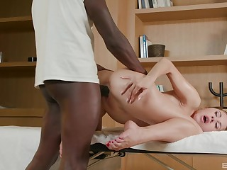 She fucks someone's skin black monster with great desire