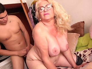 Spanish Granny Gets Had Coition Away from 18Yo Boy - licking hoochie-coochie