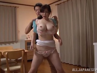 Huge-titted Japanese wife Anri Okita getting boned how she likes in the money