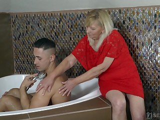 Old woman Irene helps one handsome young dude and gets her pussy fucked