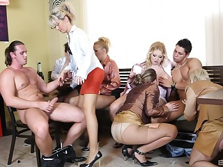 Clothed glamour pornstars suck one dick and take turns riding level with