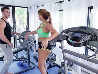 MILF gets laid in front gym plus works extensively younger dong