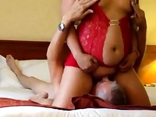 Asian rides face cums hard