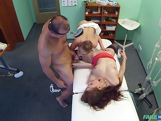 Sexy babes plot the doc's huge dick in a crazy trio