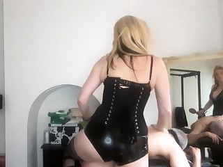 Femdom amulet hottie makes loser cum with strapon and render unnecessary